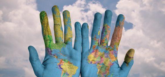 carte du monde mains - Mobilisation pros Chine Canada